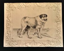 Antique 19th Century Pencil Drawing Newfoundland Dog Seaside Embossed Card