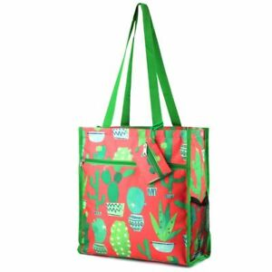 Lightweight Cactus Coral Zip Closure Tote Carry Bag for Shopping Travel