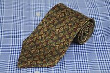 Hart Schaffner Marx Men's Tie Gold Green & Brown Geometric Printed Silk Necktie