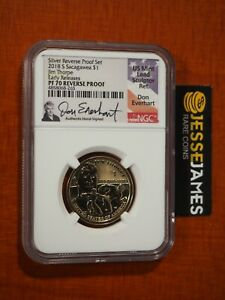 2018 S REVERSE PROOF SACAGAWEA DOLLAR NGC PF70 EARLY RELEASES EVERHART SIGNED