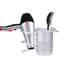 Kit 2in1 supporto asciugacapelli phon+porta spazzola pettine bagno parrucchiere