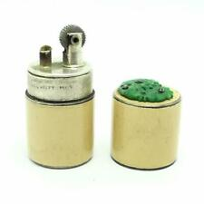 Vintage Joel Helft French Sterling Silver Enamel Mini Tube Lighter With Jade