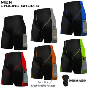 Mens Cycling Cycle Shorts Anti-Bac Coolmax Padded MTB Bicyle With Mobile Pockets