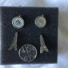 and Pocket Watch Unusual Cute 2 Stud Earrings Eiffel Tower