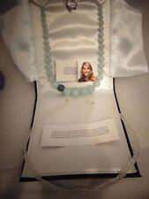 Rarities Carol Brodie Sterling 925 Aquamarine Topaz & Diamond Quartz Necklace