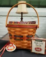Longaberger Shades of Autumn Maple Basket Set-Fabric Liner-Protector-Tie On