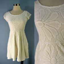 DELETTA Anthropologie Women's XS White Floral Stretch Lace Mini Dress Daisy