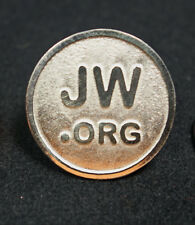 PIN JW.org ROUND STERLING SILVER 950 High Relief Lapel Watchtower Jehovah NEW@