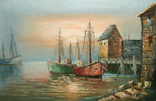"""Oil Painting of Seascape Shrimp Fish Boats on Sea at Pier in Evening 24x36"""""""