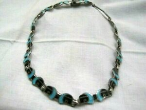 Margot de Taxco sterling silver black and turquoise enamel necklace