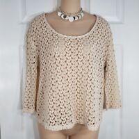 STARING AT STARS Size Medium Open Knit Crochet 3/4 sleeve Shirt Top Womens