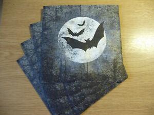 4 Servietten: Mond Fledermaus Nacht Mystik Halloween