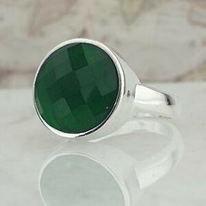 Solide 925 Sterling Silber Männer Ring Grün Smaragd Edelstein Handgefertigt Tür