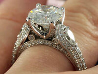 3.00ct Round & Pear White Diamond Engagement Wedding Ring 14k White Gold Finish
