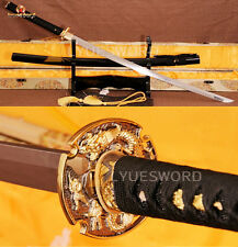 T10 Carbon Steel KATANA Japanese Samurai Sword Full Tang Clay Tempered Sharp
