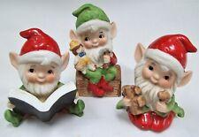 Vintage Homco #5406 Christmas Elf Elves Set of 3