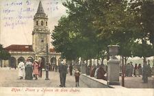 Preciosa Tarjeta Postal. Gijón. (Asturias). Plaza y Iglesia de San Pedro.