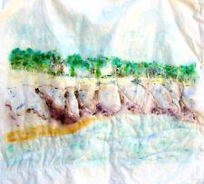 Original Handpainted Fabric Art-Ocean Beach Seascape-Painting-Nature-Medium