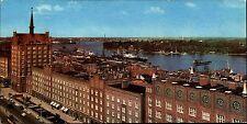 DDR Panorama Mehrbildkarte Rostock Partie Lange Strasse Blick zum Ostsee Hafen