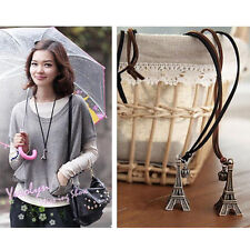 Silver Fashion Eiffel Tower Shape leather Rope Pendant Necklace Sweater Chain