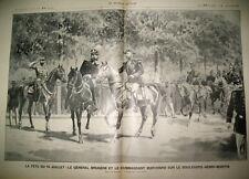 REVUE 14 JUILLET GENERAL BRUGERE CDT MARCHAND GRAV 1899