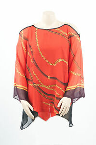 Vibrant Chic Red Off Shoulder Chains Print Madison Paige Sexy Party Plus Top