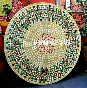 Marble Centre Dining Table Top Antique Mosaic Inlay Decorative Furniture H3464