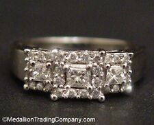 14k White Gold 2/3 Carat Princess Square Triple Diamond Halo Right Hand Ring