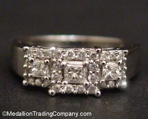 14k White Gold  2/3 Carat Princess Square Triple Diamond Halo Anniversary Ring