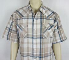 Ely Cattleman Western Pearl snap shirt short sleeve Plaid Mens Size XXL