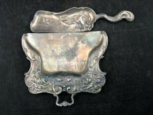 Antique Silver Silent Butler crumb scraper Derby Silver Co. 1800s Art Nouveau