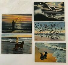 c 1940 Surf Gulls Terrier Dog Irish Setter Ocean Fishing Postcard Series Ex+