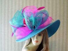 Turquoise Wide Brim Hat, PiNk, Horse Race Hat, Wedding Hat, Tea Hat, Preakness