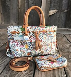 RARE Dooney & Bourke Whimsy Collection Graffiti Love White Natural W/ Wallet
