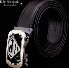 Mens boys belt Genuine leahter cowskin Automatic superman wedding Buckle belts