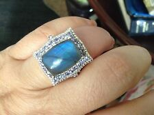 Malagasy Labradorite (Cush 11.75 Ct), Tanzanite Ring in Platinum Overlay Sterlin