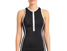MICHAEL KORS WOMENS SWIMWEAR ZIP-UP TANKINI SWIM TOP ONLY BLACK SMALL NEW $145