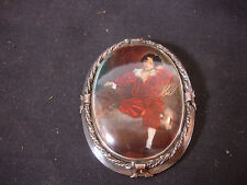Jewelry Boy Sitting Red Outfit England Old Vtg Sterling Silver Decorative Pin