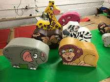6 x WILD Animal soft play set Quality Foam ideal soft play add on Sit on size.