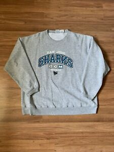 VTG CCM San Jose Sharks Pullover Gray Crewneck Sweater Size XL Made in Canada