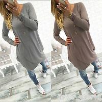 Womens Long Sleeve Casual T Shirt Mini Dress Loose Irregular Long Tops Blouses