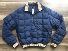 Frostline Kit Womens Down Pullover Jacket Size Small Blue Vintage Quilted Puffer