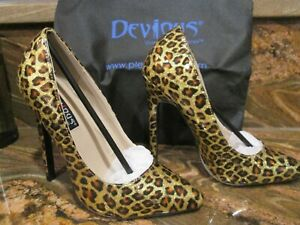 PLEASURE DEVIOUS GOLD PEARLIZED CHEETAH STELLITO WOMENS HIGH HEEL PUMPS SIZE 7