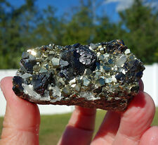 Huaron Clear Quartz with Sphalerite & Pyrite Crystal Point Cluster from Peru