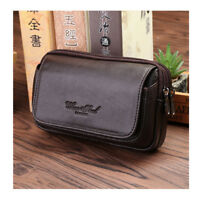 Men Fashion Leather Fanny Pack Waist Bag Hip Belt Bumbag Travel Pouch Coffee