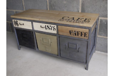 Vintage Industrial Metal & Wood 6 DrawerCabinet Retro Style Storage Furniture