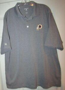 NFL Washington Redskins Gray Short Sleeve Polo Golf Shirt Sz Large by Antigua