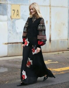 NWT Women's H&M Studio Dress Silk Flowers Embroidery Roses XS S M XL Long Black