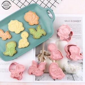 6Pcs Dinosaur Shape Cookie Cutters Plastic 3D Cartoon Pressable Biscuit Mould