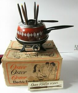 Vintage Oster Electric Fondue Set With Forks In Original Box Flame Color - CB23